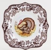 Spode Woodland brown with colour Plate Turkey c2005