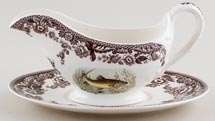 Spode Woodland brown with colour Sauce Boat and Stand c2005