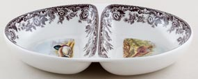 Spode Woodland brown with colour Dish divided ovenproof c2000