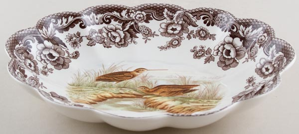 Spode Woodland brown with colour Dish oval Snipe c2004