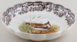 Spode Woodland brown with colour Dish round Lapwing c2005