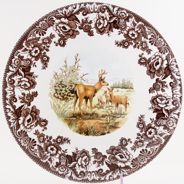 Spode Woodland brown with colour Cake or Serving Plate large Deer c2005