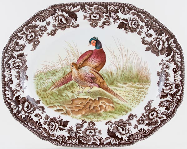 Spode Woodland brown with colour Meat Dish or Platter Pheasants c2005