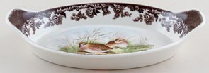 Spode Woodland brown with colour Dish oval ovenproof Quail c2000