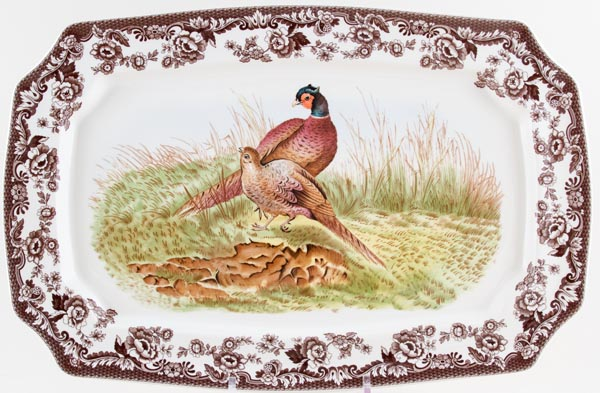 Spode Woodland brown with colour Platter Pheasant c2007