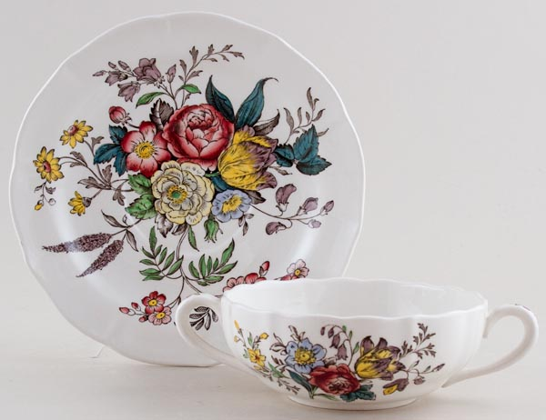 Spode Gainsborough colour Soup Cup and Saucer c1950s