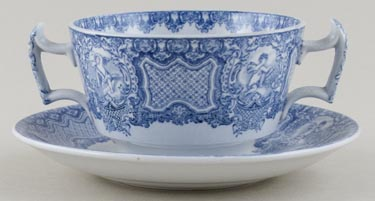 Spode Seasons Cup Two Handled and Saucer c1930s