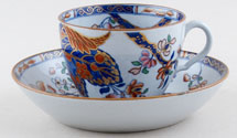 Spode Cabbage blue with colour Teacup and Saucer c1820