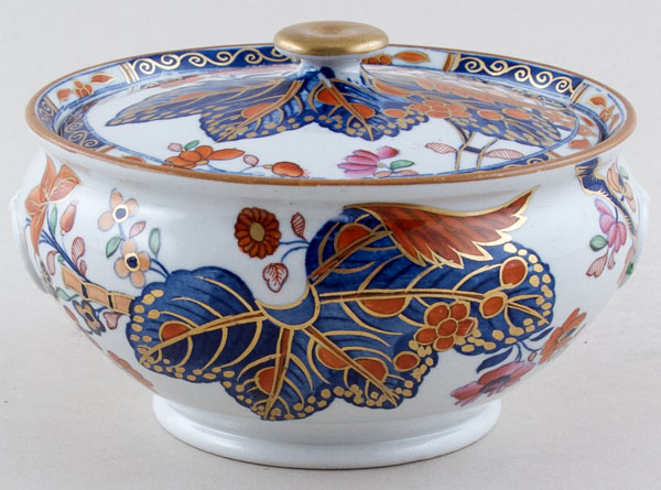 Spode Cabbage blue with colour Sugar lidded c1820