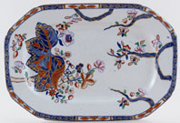 Spode Cabbage blue with colour Meat Dish or Platter c 1840