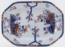 Spode Cabbage blue with colour Meat Dish or Platter c1840