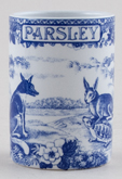 Spode Blue Room Spice Jar Parsley Aesops Fables c2000