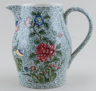 Spode Peacock and Parsley colour Jug or Pitcher c1930s