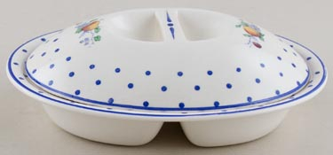 Spode Polka Dot colour Vegetable Dish small divided c1950