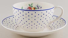 Spode Polka Dot colour Cup and Saucer Joke c1930s