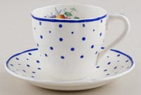 Spode Polka Dot colour Coffee Cup and Saucer c1930s