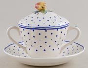 Spode Polka Dot colour Cup and Saucer lidded c1950s
