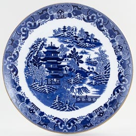 Spode Two Temples Plate coupe c1878
