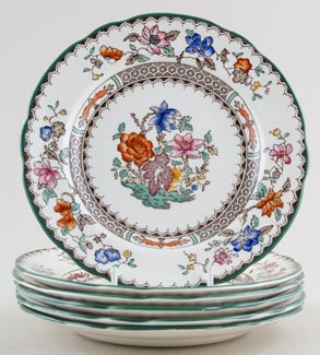 Spode Chinese Rose colour Plates set of 6 c1930s - 1980s SAVE £20