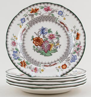 Spode Chinese Rose colour Plates set of 6 c1990s SAVE £20