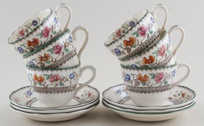 Spode Chinese Rose colour Teacups and Saucers Set of 6 c1930s - 1950s SAVE £30