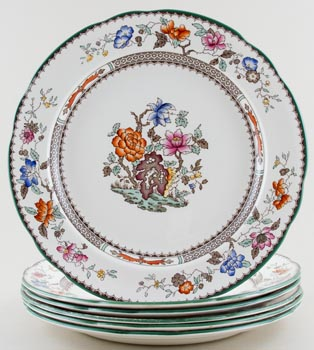 Spode Chinese Rose colour Plate set of 6 c1930s - 1960 SAVE £40