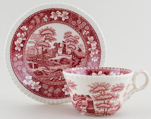 Spode Tower pink Teacup and Saucer c1930s
