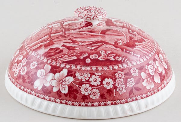 Spode Tower pink Muffin Dish Lid c1950s