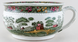 Spode Tower green with colour Chamber Pot c1907