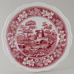 Spode Tower pink Plate c1940s