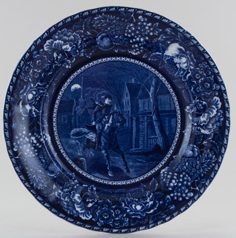 Unattributed Maker Historical Pottery Plate Ride of Paul Revere c1900