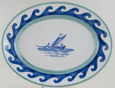 Villeroy and Boch Blue Waves blue with colour Meat Dish or Platter c1990s