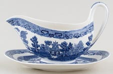 Wedgwood Willow Sauce Boat with Stand c1950s