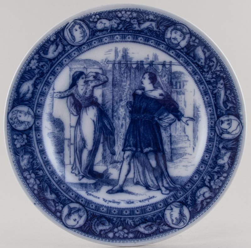 Wedgwood Ivanhoe Plate Rebecca Repelling The Templar c1910