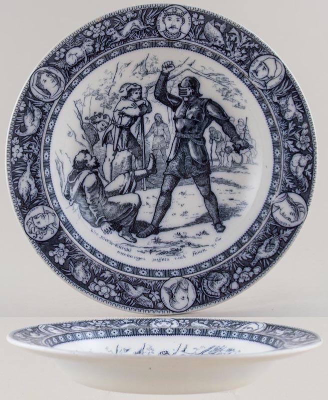 Wedgwood Ivanhoe grey Soup Plate Black Knight c1880s