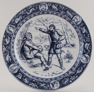 Wedgwood Ivanhoe grey Plate Wamba and Gurth c1880s