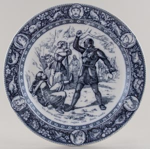 Wedgwood Ivanhoe grey Plate The Black Knight c1880s