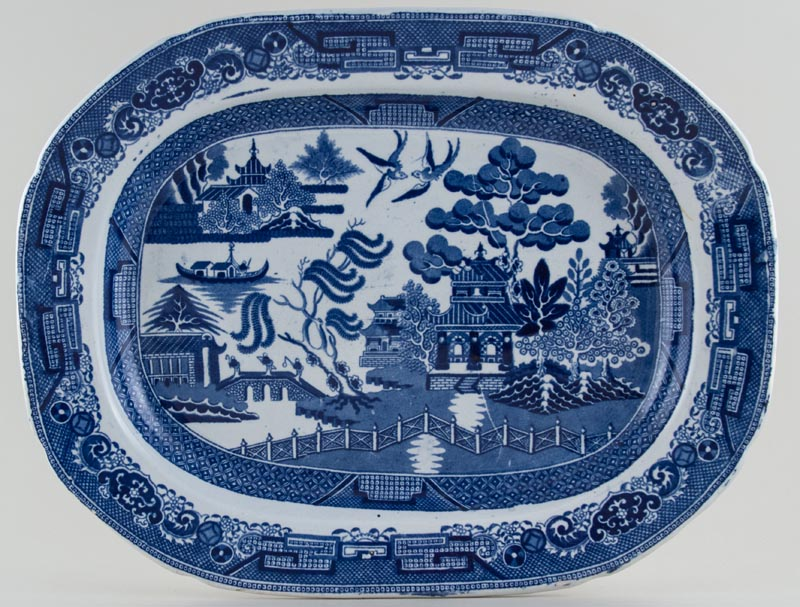 Unattributed Maker Willow Meat Dish or Platter c1845