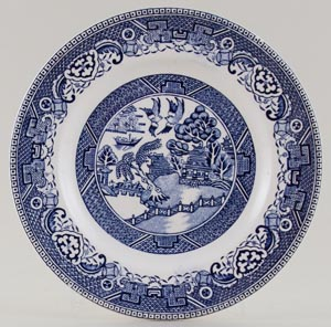 Unattributed Maker Willow Plate c1950s