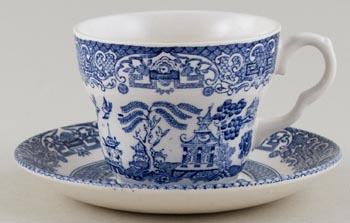English Ironstone Tableware Willow Teacup and Saucer c1990s