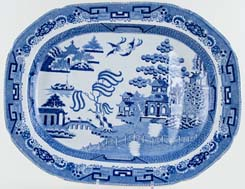 Bathwell and Goodfellow Willow Meat Dish or Platter with Tree & Well c1820