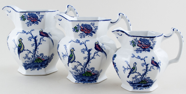 Woods Oriental Birds blue with colour Jugs or Pitchers Set of Three c1920s