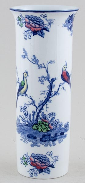 Woods Oriental Birds blue with colour Vase c1920s