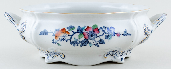 Woods Mayfair blue with colour Vegetable Dish Base Only c1920s