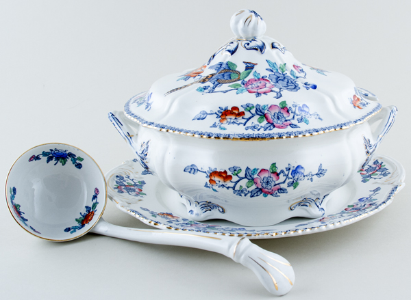 Woods Mayfair blue with colour Soup Tureen c1927
