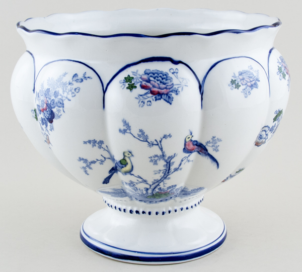 Woods Oriental Birds blue with colour Cache Pot footed c1920s