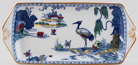 Woods Manchu blue with colour Sandwich Tray c1930s