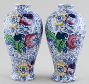Woolworth Brocade blue with colour Vases pair of small c1930