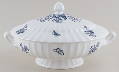 Royal Worcester Blue Sprays Vegetable Dish With Cover c1960s
